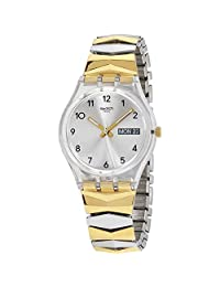 SWATCH WOMEN'S ORIGINALS 34MM TWO TONE STEEL BRACELET QUARTZ WATCH GE707A