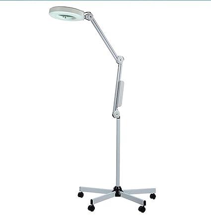 Lupa de pie con 5 luces LED con 5 ruedas de altura ajustable para lectura de
