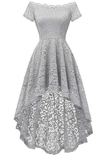 - Dressystar 0042 Lace Off Shoulder Hi-Lo Short Sleeve Formal Cocktail Dress Grey XL