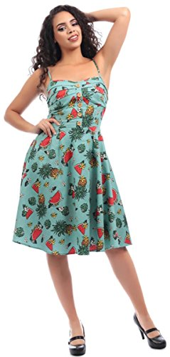 Kleid Fairy Dress Bunten Collectif Motiven mit Türkis Swing Tropical Ananas Damen 1WRgPR