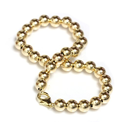 Beaded Bracelet 14k Solid Yellow Gold with Lobster Clasp 5 mm Beads 6'', 6.5'', 7'', 7.5'' (yellow-gold, 8) by Seven Seas Pearls (Image #1)