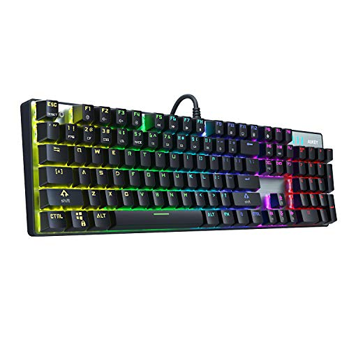 AUKEY Mechanical Keyboard Blue Switch, 104-Key RGB Backlit Gaming Keyboard with Customizable Lighting Effects, Aluminium USB Wired Keyboard for Gaming and Typing (2019 Edition) (Best Cherry Switch For Typing)