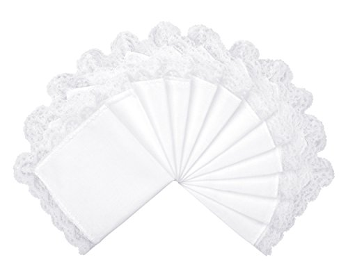 Milesky Solid White Wedding Cotton Handkerchiefs with Lace Edges Square 10 x 10 (Pack of 12)