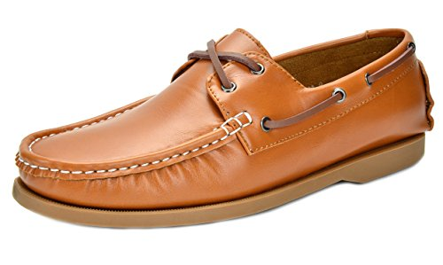 Bruno Marc BAHAMA New Men's Fashion Casual Loafers Two-Eye Contrasting Leather Lace Up Classic Driving Boat shoes TAN SIZE 7.5