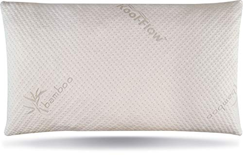 Snuggle-Pedic Ultra-Luxury Bamboo Shredded Memory Foam Pillow Combination with Adjustable Fit and Zipper Removable Kool-Flow Breathable Cooling Hypoallergenic Pillow Cover (King)