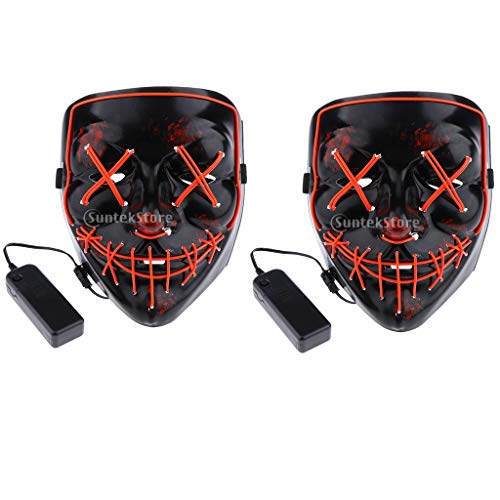 Fityle 2 Pieces Scary Red Stitched Eyes Mouth Mask LED Light Up Purge Mask -