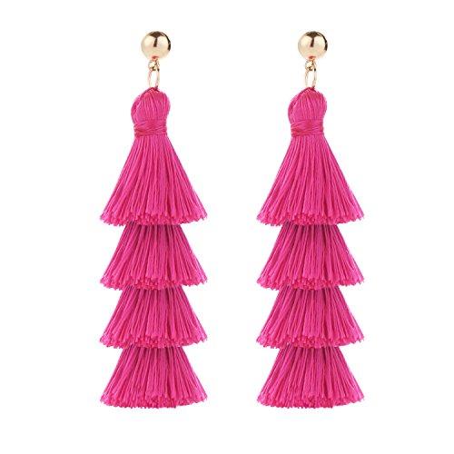 BaubleStar Fashion Gold Tassel Dangle Earrings Layered Long Bonita Tiered Thread Tassel Rose Red Drop Statement Jewelry for Women Girls BAN0054MR