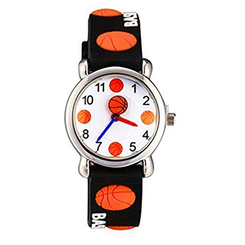 Eleoption Waterproof Kid Watches 3D Cute Cartoon Digital Silicone Wristwatches Time Teacher Gift for Little Girls Boy Kids Children Birthday (G Basketball (D&g Quartz Movement)