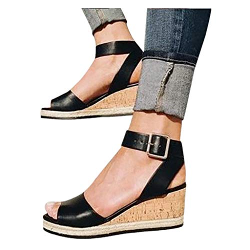 Cenglings Wedges Shoes,Womens Open Toe One Band Ankle Strap Platform Sandals Buckle Espadrilles Ladies Roman Sandals Black (Croc Buckle)