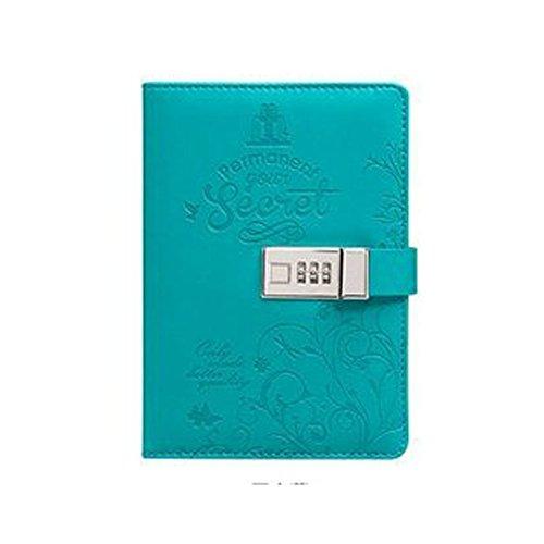 yakri B6 PU Leder Zeitschriften Note Bücher Secret Tagebuch mit Schloss Passwort gefüttert, Schlösser, tpn012 Tagebuch, 5.5x7.9x1.3 inch blau
