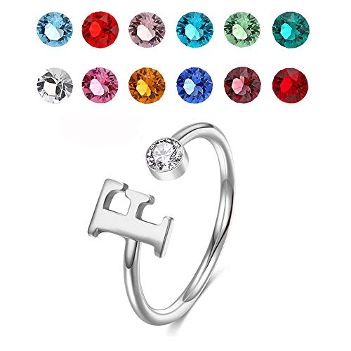 925 Sterling Silver Personalized Initial Name Ring with Simulated Birthstone Cusotm Initial Alphabet Letter Adjustable Size Stackable CZ End Wrap Open Ring (Silver)