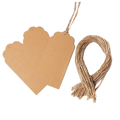 eKingstore 100PCS Wedding Retangle Kraft Paper Tag Bonbonniere Favor Gift Tags With Jute Twines (Brown)