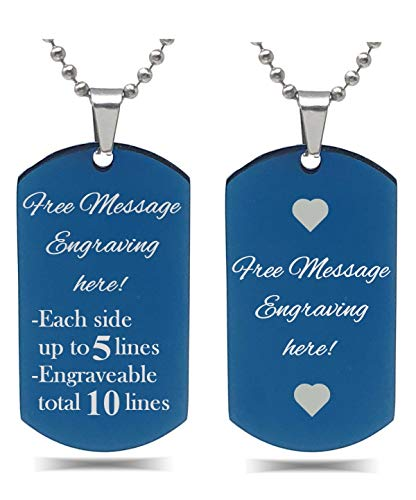 Interway Trading Personalized Regular Size Custom Message Engraved Stainless Steel Necklace Dog Tag Pendant with 24 inch Chain,Velvet Giftpouch and Keyring (Rectangular Blue)