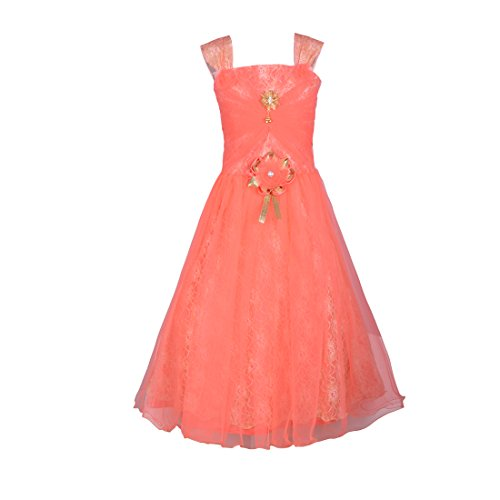 Aarika Girl's Premium Net Party Wear Ball Gown (G-21061-PEACH_26_6-7 Years) by Aarika