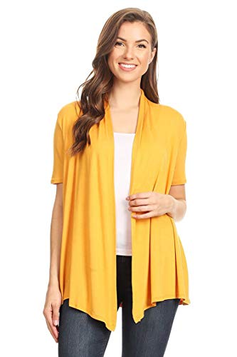 (Solid & Printed Short Sleeves Open Front Draped Cardigan/MADE IN USA Mustard L)