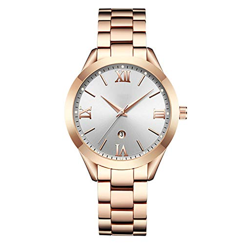 Gold Watch Lover (Woman Watches Top Brand Luxury Gold Ladies Watch Date Stainless Steel Band Classic Bracelet Female Clock Lover Gift,Rose White)