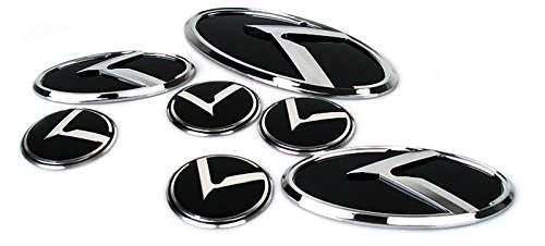 3D K Logo Emblem 7Ea Set (Front+Rear+Steering+Wheelcaps) For Kia 2013-2015 Quoris / K9