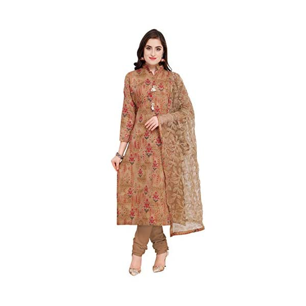 Rajnandini Women's Beige Cotton Satin Embroidered Unstitched Salwar Suit Material (Free Size)