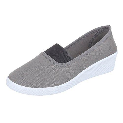 Ital-Design Damen Schuhe, 2015-12, Halbschuhe Slipper Keilabsatz Grau