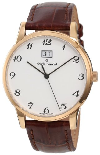 Claude Bernard Men's 63003 37R BB Classic Gents Rose Gold PVD White Dial Leather Date Watch - Watch Pvd White Dial