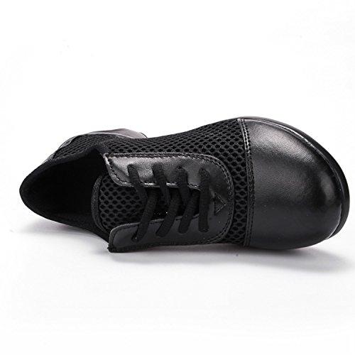 Mesh Split Sole Jazz Heel Schuhe für Frauen Mädchen Lace Up Ballroom Dance Turnschuhe B Schwarz