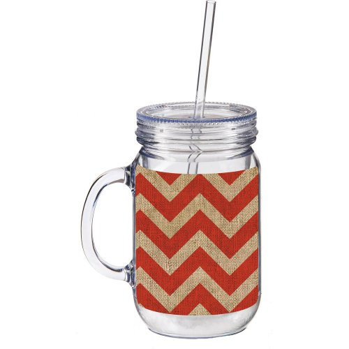 Orange And Burlap Chevron Double Walled Mason Jar Insulated Mug