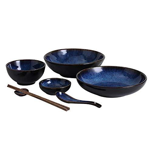 Retro Blue Ceramic Tableware Set Big Soup Bowl/rice Bowl/plate/spoon/chopsticks, 1-4 People Japanese Tableware Set (Color : 7 pieces)