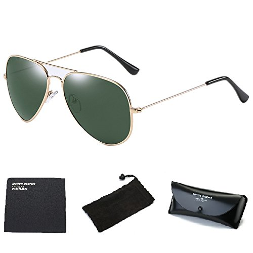 Wonzone Premium Military Style Classic Polarized UV400 Aviator Sunglasses for Men Women with Sun Glasses Case - Average Glasses Of Price Frames