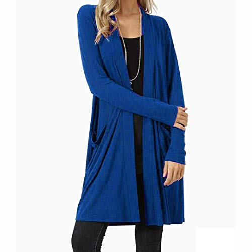 Long Cardigan with Pockets for Women, Open Front Fly Away Cardigan Sweater Long Sleeve Solid Loose Drape (XXXL, Blue) by Goodtrade8 Clearance