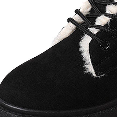PU de HSXZ botas Toe Almendra para Gris Ronda de invierno casual negro Confort mujer Zapatos Almond rrWBn4Y