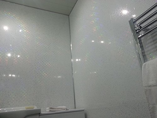 4 White Sparkle Diamond Effect PVC Bathroom Cladding Shower Wall Panels
