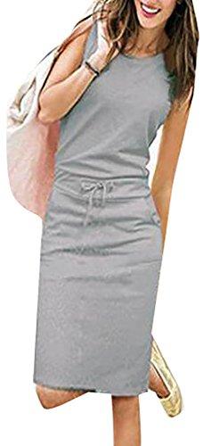 Jaycargogo with Womens Sleeveless Casual Grey Slant Pockets Bodycon Dress xaBxrqw