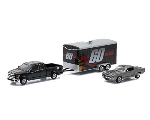 Ford 2015 F-150 Pickup Truck and 1967 Custom Mustang Eleanor with Enclosed Car Hauler Set Gone in 60 Seconds Movie 1/64 by Greenlight