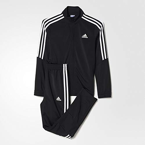 adidas Kids Tracksuit Boys Tiro Poly Junior Suit 3 Stripe Jog Suit Black Climalite BJ8460 New (15/16 Years)