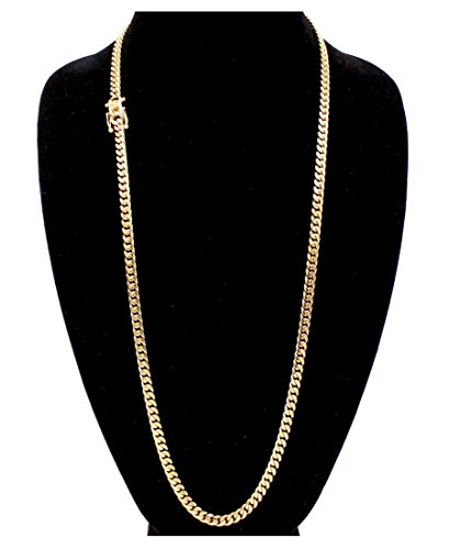 Cuban Link 24K Gold Plated Men's Miami Cuban Chain Stainless Steel Fashion Bracelet Jewelry own4 lifetime (24, Necklace (6MM Wide))