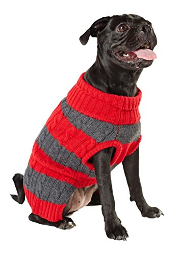 Hotel Doggy Academy Cranberry Red Cable Knit Sweater, ()
