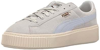PUMA Women's Suede Platform Core Fashion Sneaker, Halogen Blue-Whisper White, 6.5 M US