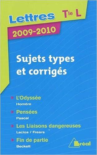 Livre gratuits en ligne Lettres Tle L : Sujets types et corrigés pdf ebook