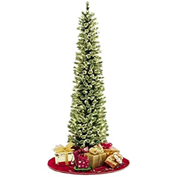 pencil slim christmas tree 7ft soft feel touch with stay lit lights fast - Christmas Tree Slim