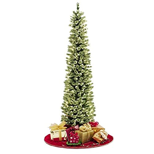 pencil slim christmas tree 7ft soft feel touch with stay lit lights fast shipping