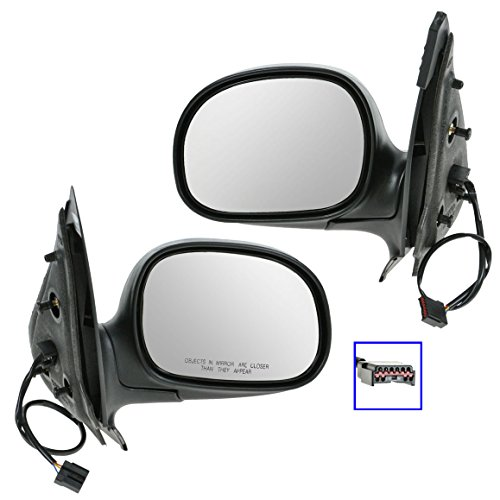 Power Side View Mirrors Black & Chrome Pair Set for Ford Expedition F150 Truck (F150 Chrome Power Truck Mirror)