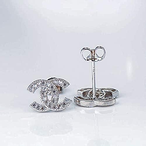 Boucles d/'oreilles /à tige double C en argent sterling 925 avec zircone cubique et zircone cubique Cadeau de qualit/é Pour femme