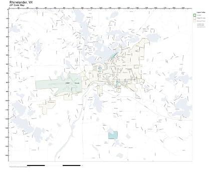 Amazon Com Zip Code Wall Map Of Rhinelander Wi Zip Code Map
