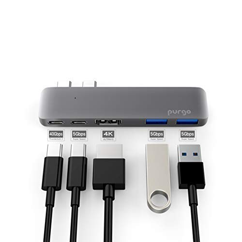 Purgo USB C Hub Adapter Dongle for MacBook Air 2018, MacBook Pro 2018/2017/2016, Ultra Slim Type C Hub with 4K HDMI, 100W Power Delivery, 40Gbps Thunderbolt 3 5K@60Hz and 2xUSB 3.0 (Space Grey)