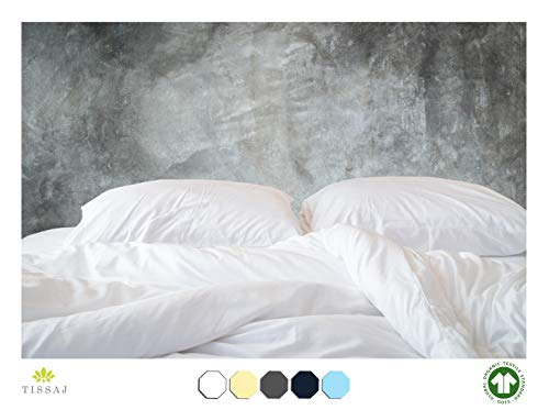 500-Thread-Count Organic Cotton Duvet Cover - 500TC Twin & Twin XL Size Ultra White Color - for Bedding - 100% GOTS Certified Extra Long Staple, Soft Sateen Weave Finish - Luxury Collection (Xl Covers Twin Duvet)