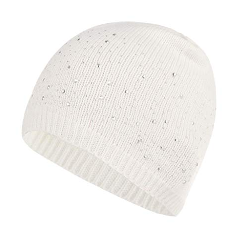MTXLN Lady Point Drill Knit Hat Wool Warm Hat Windproof Cold Autumn and Winter,White,1923CM (Wool Hat Drill)