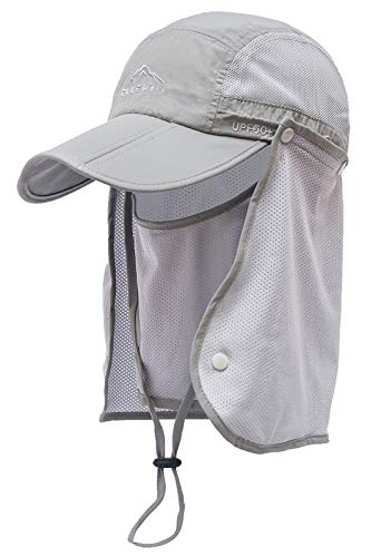 ELLEWIN Outdoor Fishing Flap Hat UPF50 Sun Cap Removable Mesh Face Neck Cover, D-light Grey /Mesh Neck Cover, M-L-XL -