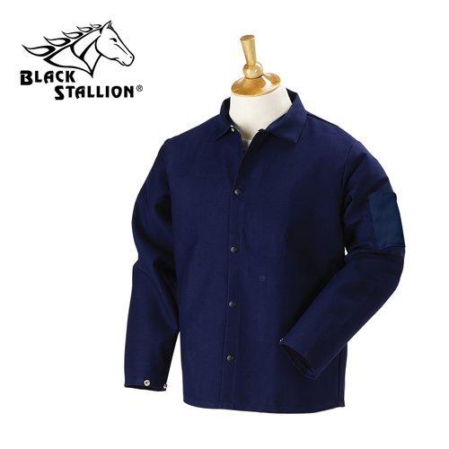 Black Stallion FN9-30C 30'' 9oz. Navy FR Cotton Welding Jacket, Large