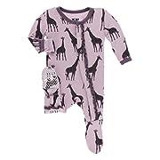 Kickee Pants Little Girls Print Muffin Ruffle Footie with Snaps - Sweet Pea Giraffe, 3-6 Months