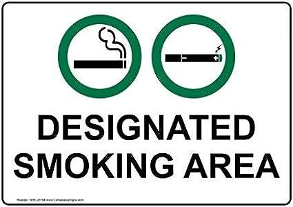 Gefahrenaufkleber mit Rauchbereich-Info Wei/ß Aufkleber f/ür Warnschild 17,8 x 12,7 cm Warnaufkleber